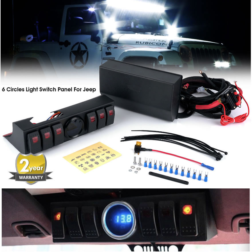 6 Circles Light Switch Panel For Jeep